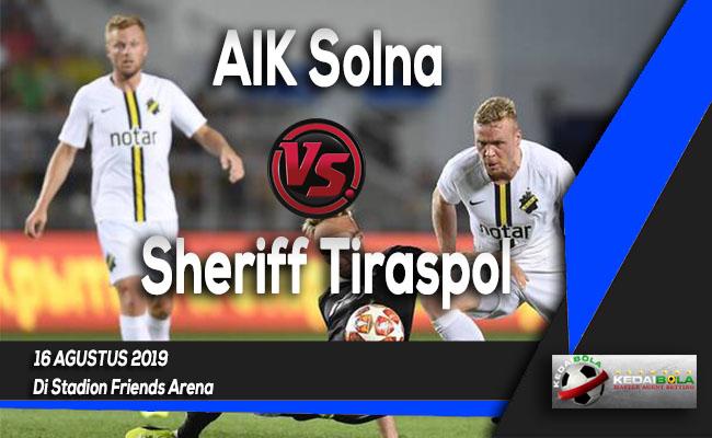 Prediksi Skor Bola AIK Solna vs Sheriff Tiraspol 16 Agustus 2019